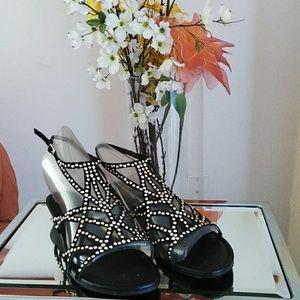 Black Faux Suede Cage Sandals